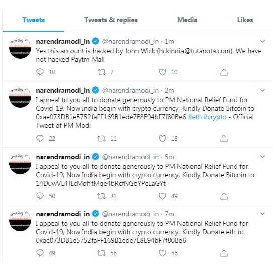 India's Prime Minister Twitter Account Hacked by 'John Wick' Cyber Gang 1