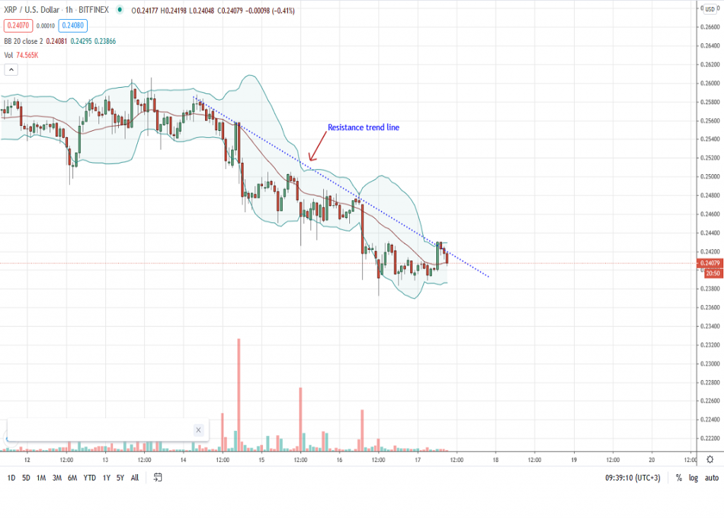 Ripple Price 1-Hour Chart by Trading View