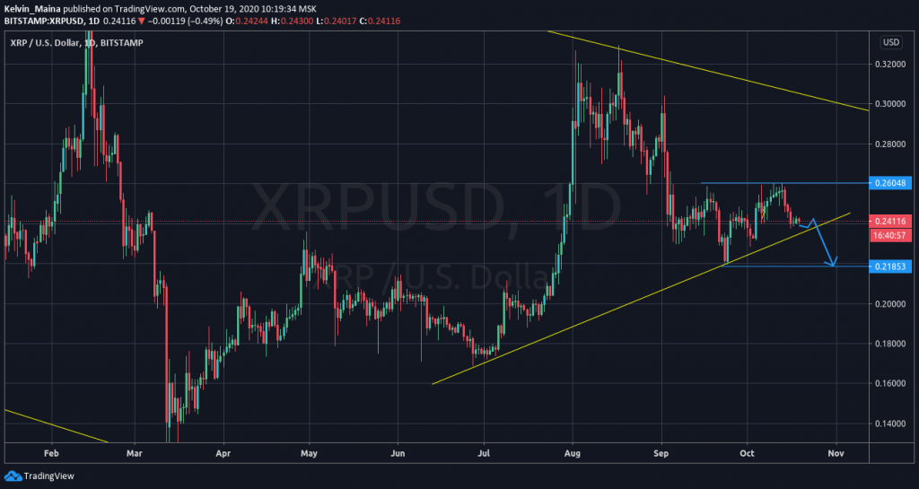 Ripple price prediction: Prices to drop to $0.218 support level 1