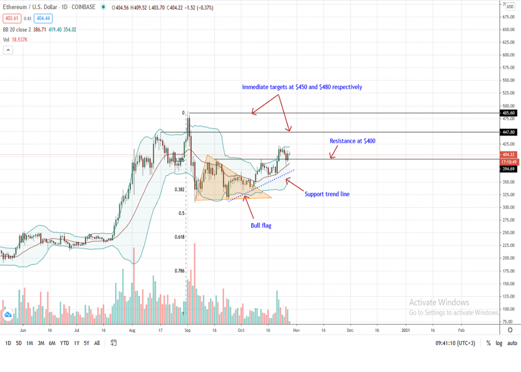 Ethereum Price Daily Chart by Trading View