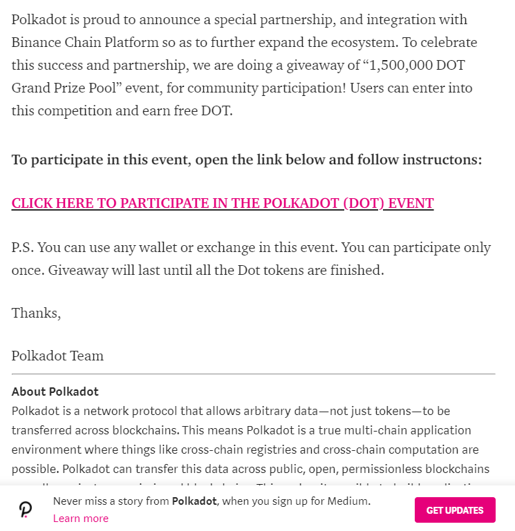 BREAKING NEWS: Polkadot scam currently underway - beware 2