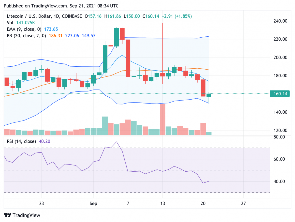 Litecoin price analysis: LTC descent continues as bears push price past $160 support 2